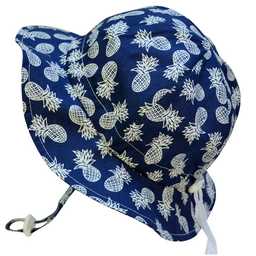 Jan & Jul Jan & Jul - Chapeau Soleil Ajustable en Coton/Grow With Me Cotton Sun Hat, Marine avec Ananas/Navy with Pineapples