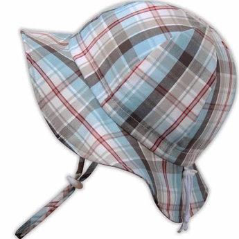 Twinklebelle Twinklebelle - Chapeau Soleil Ajustable en Coton/Grow With Me Cotton Sun Hat, Carreaux d'Été/Summer Plaid, 0-9 Mois/Months
