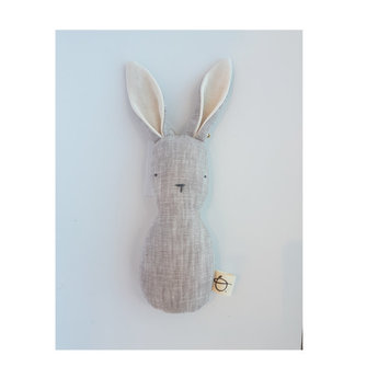 Ouistitine Ouistitine - Bunny Linen Rattle, Beige