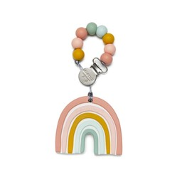 Loulou Lollipop Loulou Lollipop - Jouet de Dentition avec Attache-Suce, Arc-en-ciel Pastel