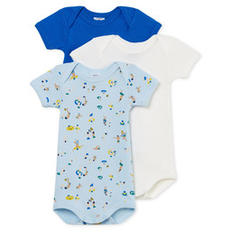 Petit Bateau Petit Bateau - Pack of 3 Rompers, Blue Patterns