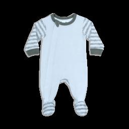 Coccoli Coccoli - Pyjama à Pattes en Jersey Modal, Sprig Gris sur Bleu