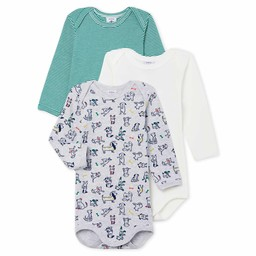 Petit Bateau Petit Bateau - Pack of 3 Rompers,  Dogs Green Stripes