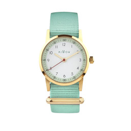 Millow Millow - Montre Opale, Vert Menthe Boucle Or