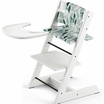 Demo Sale Stokke Tripp Trapp Complete High Chair Set 2018 White With Forest Green Cushion