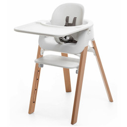 Stokke Stokke - Complete Steps High Chair, Natural with Baby Set and White Tray