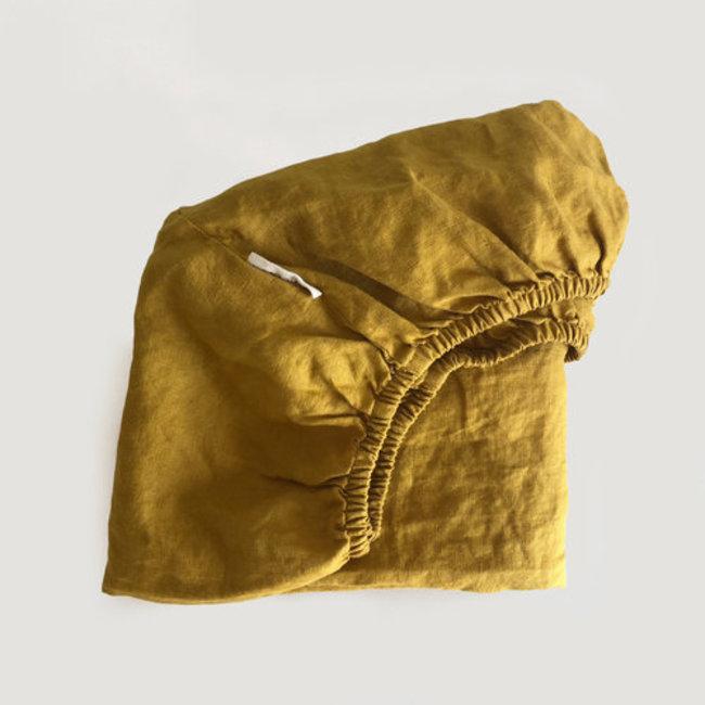 7PM Linen 7PM Linen - Linen Fitted Sheet, Mustard