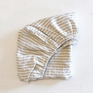 7PM Linen 7PM Linen - Linen Fitted Sheet, Natural Stripe