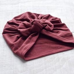 Mini Bretzel Mini Bretzel - Premium Collection Turban, Burgundy Bow
