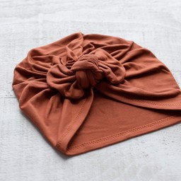Mini Bretzel Mini Bretzel - Premium Collection Turban, Rust Bow
