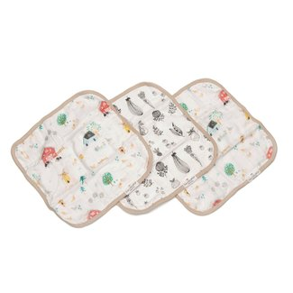 Loulou Lollipop Loulou Lollipop - Set of 3 Bamboo Muslin Washcloths, Farm Animals