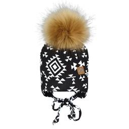 Perlimpinpin Perlimpinpin - Pompom Hat, Aztec Black