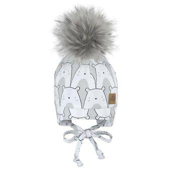 Perlimpinpin Perlimpinpin - Pompom Hat, Polar Bear Grey