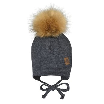 Perlimpinpin Perlimpinpin - Pompom Hat, Dark Grey