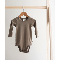 Jax and Lennon Jax and Lennon - Long Sleeve Bamboo Onesie, Taupe