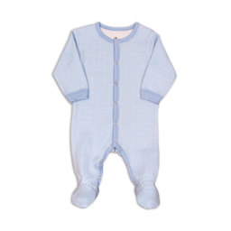 Coccoli Coccoli - Cotton Double Knit Footie, Cashmere Blue Chevron
