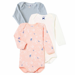 Petit Bateau Petit Bateau - Pack of 3 Rompers,  Pink Flowers and Birds