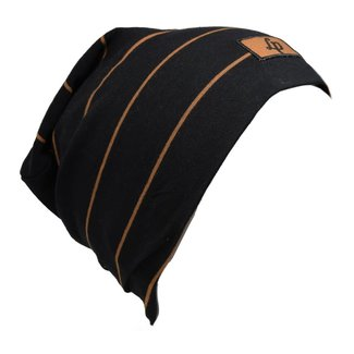 L&P L&P - Boston V20, Striped Cotton Beanie, Black Caramel