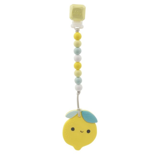 Loulou Lollipop Loulou Lollipop - Teether with Pacifier Clip, Lemon
