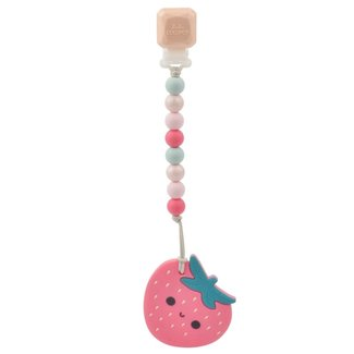 Loulou Lollipop Loulou Lollipop - Teether with Pacifier Clip, Strawberry