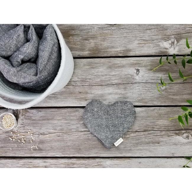 Amma Thérapie Amma Thérapie - Coussin Réconfort Coeur pour Bébé, Chanvre et Coton Biologique Gris
