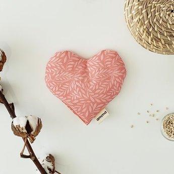 Amma Thérapie - Heart Comfort Cushion for Babies, Coral Botanical