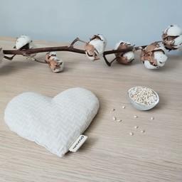 Amma Thérapie - Coussin Réconfort Coeur pour Bébé, Zig Zag Beige