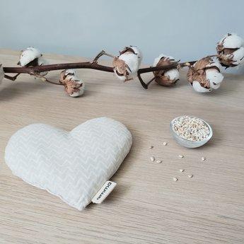 Amma Thérapie - Heart Comfort Cushion for Babies, Beige Zig Zag