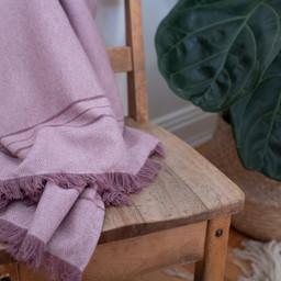 Bouton Jaune Bouton Jaune - Woven Wool Blanket, Aubergine Herringbone