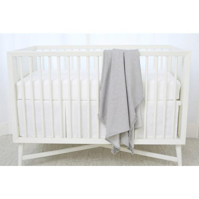 Bouton Jaune Bouton Jaune - Woven Cotton Blanket, Grey Leaf Herringbone