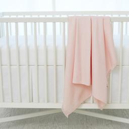 Bouton Jaune Bouton Jaune - Woven Cotton Blanket, Pink Leaf Herringbone