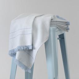 Bouton Jaune Bouton Jaune - Couverture en Lainage Tissé, Bleu Chevrons