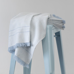 Bouton Jaune Bouton Jaune - Woven Wool Blanket, Blue Herringbone