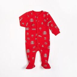 Petit Lem Petit Lem - Pyjama à Pattes en Tricot, Rouge Motifs