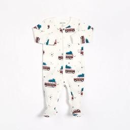 Petit Lem Petit Lem - Pyjama à Pattes en Tricot, Blanc Voitures Rouges