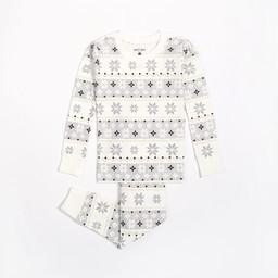 Petit Lem Petit Lem - 2 Pieces Pyjama, White Snowflakes