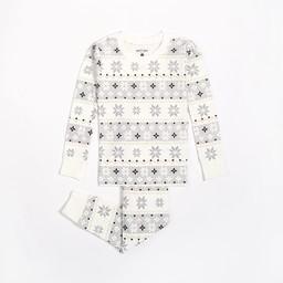Petit Lem Petit Lem - Pyjama 2 Pièces en Tricot, Blanc Flocons