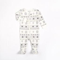 Petit Lem Petit Lem - Knitted Footie, White Snowflakes