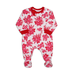 Coccoli Coccoli - Cotton Footie, Red and Pink Roses Print