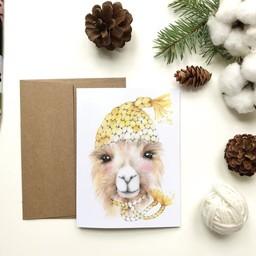 Katrinn Pelletier Illustration Katrinn Pelletier - Carte de Souhaits, Arnaud l'Alpaca
