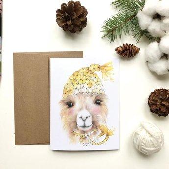 Katrinn Pelletier Illustration Katrinn Pelletier - Greeting Card, Arnaud the Alpaca
