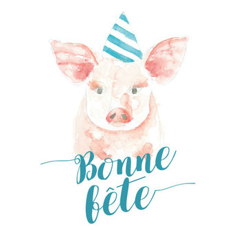 Stéphanie Renière - Greeting Card, Gabrielle the Pig