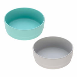 Lässig Lässig - Set of 2 Bamboo Bowls for Baby, Turquoise/Grey