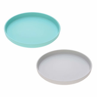 Lässig Lässig - Set of 2 Bamboo Plates for Baby, Turquoise/Grey