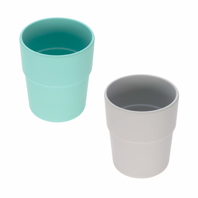 Lässig Lässig - Set of 2 Bamboo Mugs for Baby, Turquoise/Grey