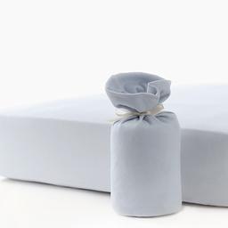 Bouton Jaune Bouton Jaune - Organic Cotton Fitted Sheet, Blue