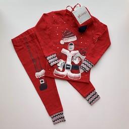 Petit Lem Petit Lem - Ensemble Pyjama Chandail, Pantalon et Chaussette en Tricot, Rouge Ours