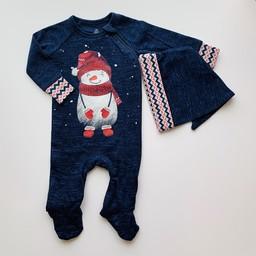 Petit Lem Petit Lem - Pyjama Set with Knitted Footie and Beanie, Snowman