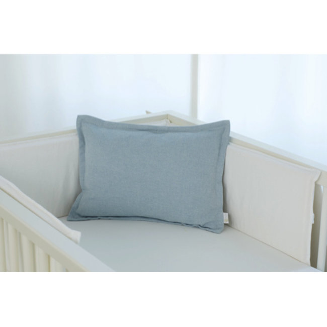 Bouton Jaune Bouton Jaune - 12x16 Inches Woolen Pillow Cover, Vintage Blue Herringbone