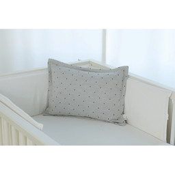Bouton Jaune Bouton Jaune - 12x16 Inches Woolen Pillow Cover, Dots Grey Herringbone